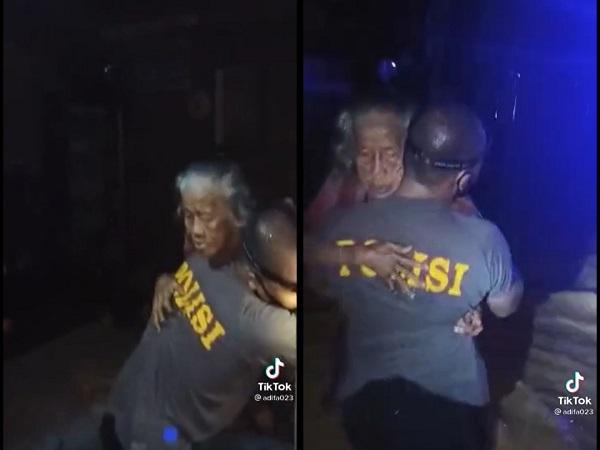 Banjir Kalsel: Viral, Video Polisi Gendong Nenek Sebatang Kara Terjebak Banjir