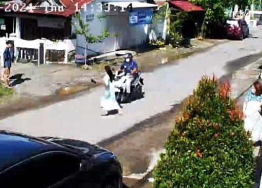 Rekaman CCTV saat mahasiswi cantik di Mamuju Sulbar ditabrak motor. (Galigo/ist)