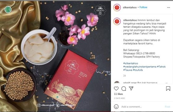 Silken Tahoo, kembang tahu atau wedang tahok instan. (Instagram)