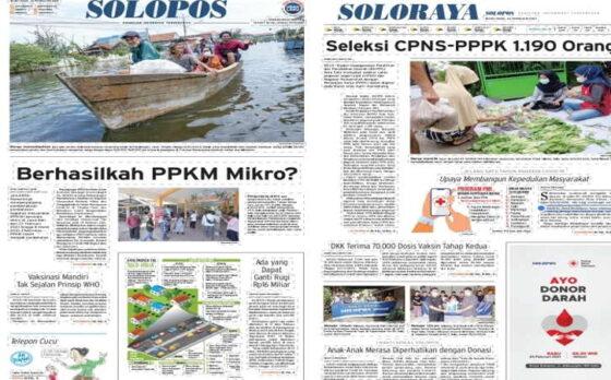 Koran Solopos edisi Senin (22/2/2021)