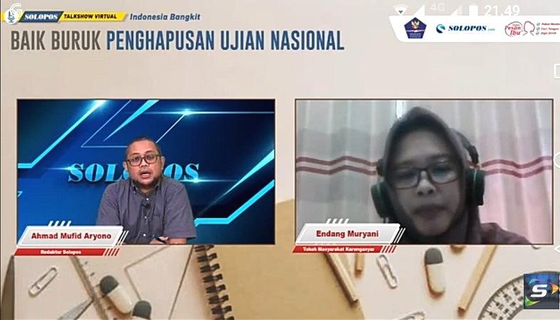Talkshow Solopos tema UN Dihapus (Tangkapan layar)