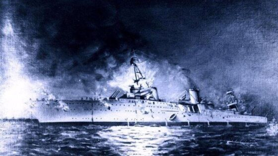 Ilustrasi tenggelamnya Kapal USS Houston Amerika Serikat karya Joseph Fleischman. (Historia.id/Naval History and Heritage Command)