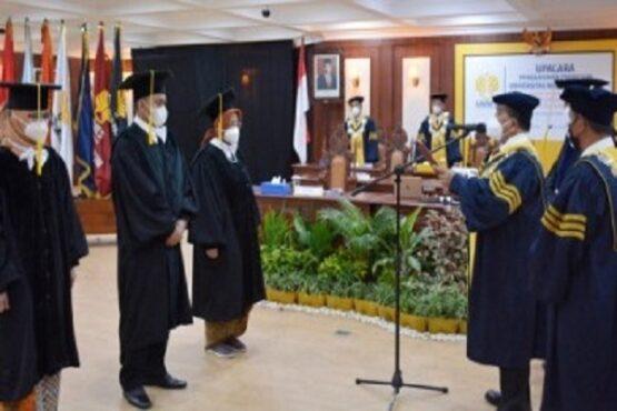 Suasana pengukuhan guru besar di Kampus Universitas Negeri Semarang (Unnes), Rabu (24/2/2021). (Semarangpos.com-Humas Unnes)