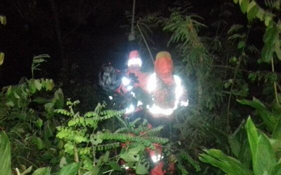 anggota Badan Penanggulangan Bencana Daerah (BPBD) Wonogiri, mengkondisikan sarang lebah jenis vespa affinis di Dusun Ngelo, Desa Jendi, Kecamatan Selogiri, Wonogiri, Kamis (25/2/2021) malam. (Istimewa)