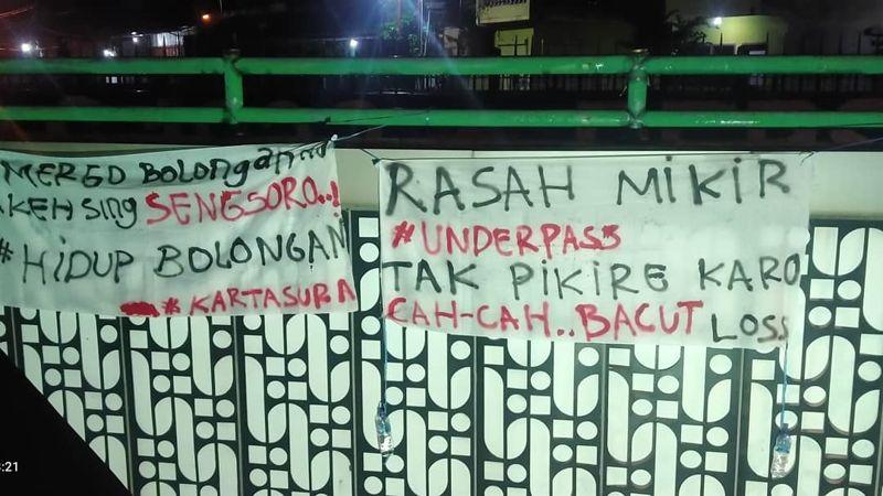 Belum Sehari Terpasang, Spanduk Protes Kondisi Underpass Makamhaji Sukoharjo Raib