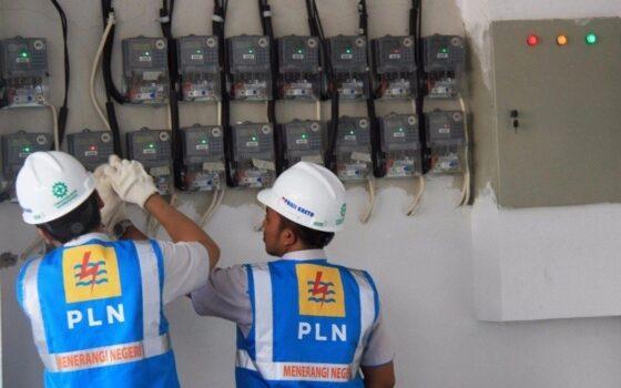 Petugas PLN melakukan pemeriksaan listrik. (Bisnis.com)