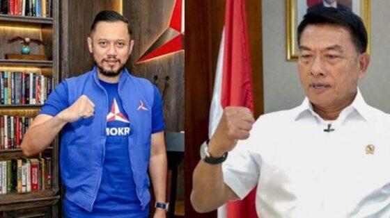 Ketum Partai Demokrat, Agus Harimurti Yudhoyono (AHY) dan rivalnya, Moeldoko. (suara.com)