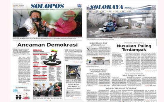 Koran Solopos Hari Ini edisi Senin (8/3/2021) mengulas tentang ancaman demokrasi.