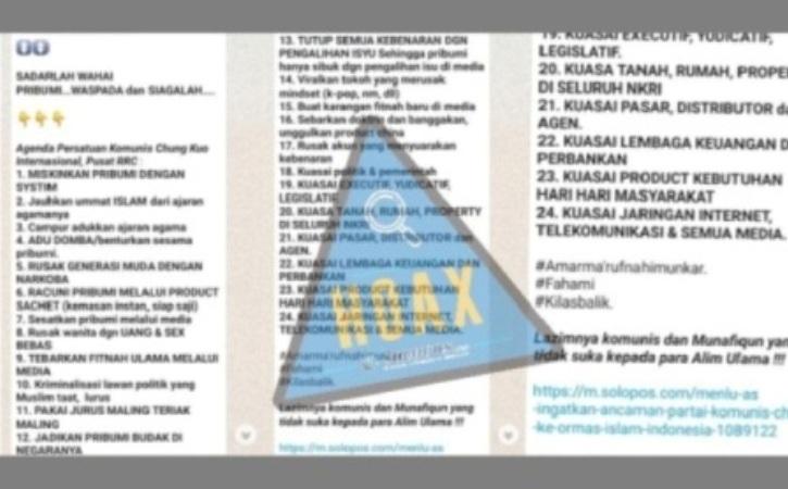 """Hoax! Pesan Berantai """"Agenda Komunis Internasional RRC"""" Catut Berita Solopos.com"""