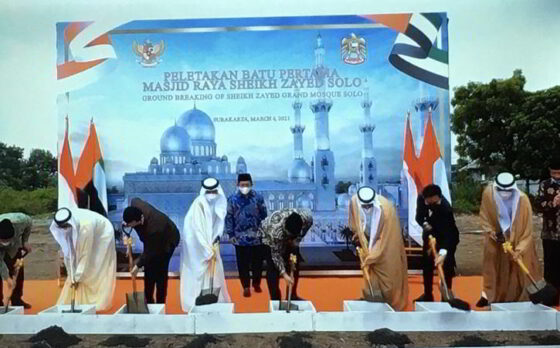 Peletakan batu pertama Masjid Raya Sheikh Zayed Solo, Sabtu (6/3/2021). (Solopos/Farida Trisnaningtyas)