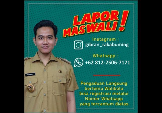 Flyer berisi pengumuman layanan baru pengaduan bernama Lapor Mas Wali yang diluncurkan Wali Kota Solo Gibran Rakabuming Raka, Rabu (3/3/2021). (Istimewa)