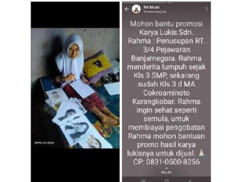 Bocah lumpuh asal Banjarnegara yang jago melukis (Facebook/Candra Karana).