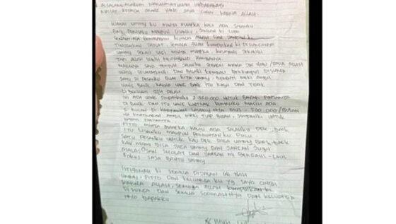 Surat wasiat pelaku bom bunuh diri di Gereja Katedral Makassar. (detik.com)