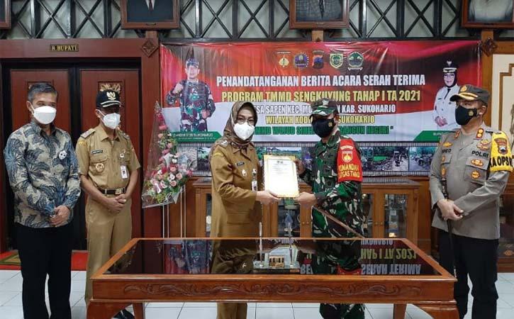 Acara pembukaan TMMD Sengkuyung Tahap I 2021 dilaksanakan di Desa Sapen, Kecamatan Mojolaban, Selasa (2/3/2021). (Solopos-Indah Septiyaning W.)