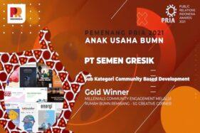 Raih 2 Penghargaan Gold, Semen Gresik Berjaya di Ajang PRIA 2021