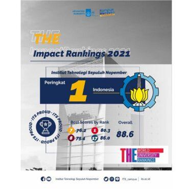 ITS menduduki peringkat 1 di Indonesia dalam pemeringkatan Impact Rankings 2021 oleh Times Higher Education (THE). (its.ac.id)