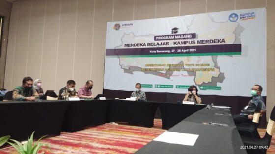 Rapat Koordinasi yang diselenggarakan oleh  Kementerian ATR/BPN di  Hotel Gumaya Kota Semarang pada 27-28 April 2021. (Istimewa)
