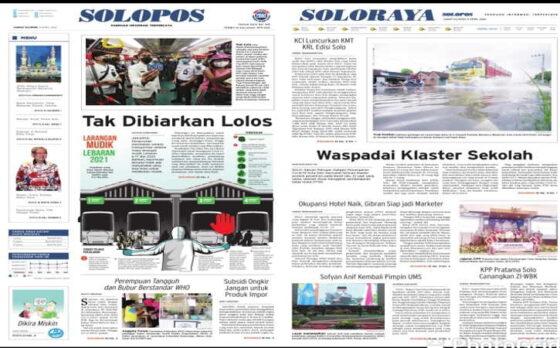 Koran Solopos edisi Jumat (9/4/2021) .