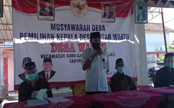 Sejumlah dewan pemilih mengikuti musyawarah desa untuk melakukan pemilihan kepala desa PAW di Desa Wates, Kecamatan Simo, Kabupaten Boyolali, Rabu (21/4/2021). (Istimewa)