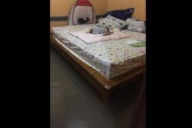 Rumah Dikepung Banjir, Warga Kingkang Klaten Ini Santuy Tidurkan Bayi di Kasur