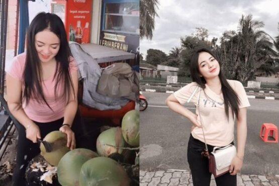Penjual es kelapa muda cantik di Samarinda mendadak viral (Instagram/@dianaelasari)