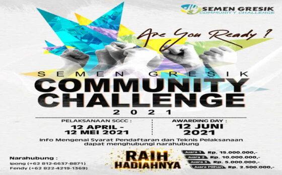 Poster publikasi Semen Gresik Community Challenge 2021. Durasi pelaksanaan SGCC 2021 masih berlangsung selama 12 April- 12 Mei 2021 (Istimewa)