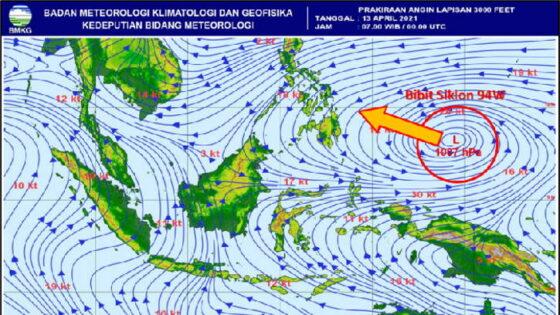 Bibit siklon tropis 94W. (BMKG/detik.com)