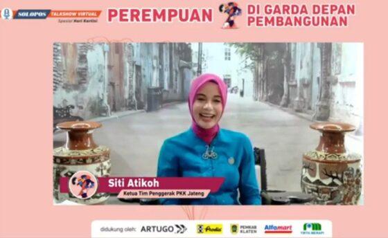 Siti Atikoh di acara Solopos Talkshow Virtual Spesial Hari Kartini, Kamis (22/4/2021). (Istimewa)
