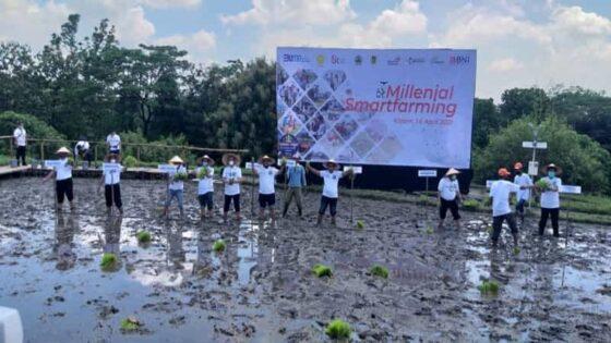 Salah satu rangkaian peluncuran Millenial Smart Farming, berupa penanaman padi secara simbolis di Sidowayah, Polanharjo, Klaten, Rabu (14/4/2021). Melalui kegiatan itu, kaum milenial di desa setempat diajak untuk terjun ke dunia pertanian. (Espos/Ponco Suseno)