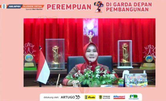 Bupati Klaten, Sri Mulyani di acara Solopos Talkshow Virtual Spesial Hari Kartini. (Istimewa)