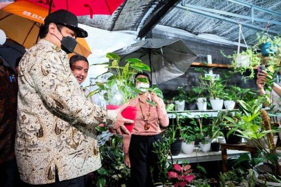 Menko Bidang Perekonomian Airlangga Hartarto saat menghadiri pelepasan ekspor florikultura di Minaqu Home Nature, Jungle Fest Bogor, Kamis (6/5/2021). (Istimewa)