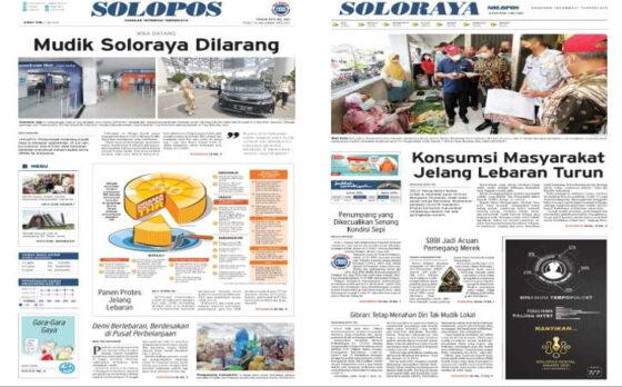 Koran Solopos edisi Jumat (7/5/2021).