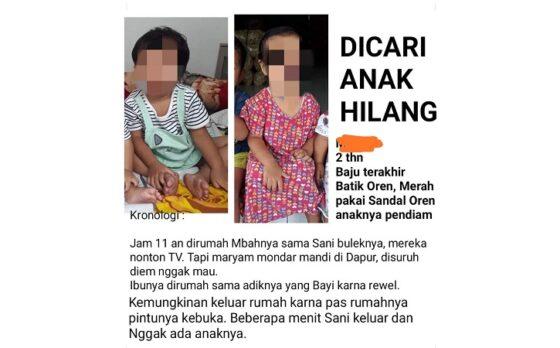 Postingan AWC, ibu dari MY, balita berusia dua tahun yang sempat dibawa kabur pengemis di Sragen, Jumat (14/5/2021). (Istimewa/FB)