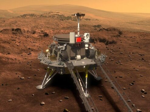 Wahana antariksa Zhurong yang mendarat di Planet Mars. (China National Space Agency)