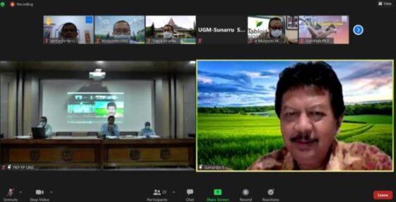 Seminar daring dan luring Sistem Penyuluhan Pertanian digelar DPD RI bekerja sama dengan Fakultas Pertanian UNS Solo, Selasa (4/5/2021). (Istimewa/FP UNS)
