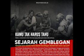 Nama Gemblegan Solo Disebut Berasal Dari Raja Judi, Sejarawan: Itu Ngawur!