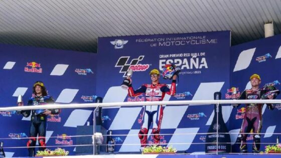 Indonesian Racing Team melalui pebalap Federal Oil Gresini Team Fabio Di Giannantonio meraih podium juara di Moto2 Spanyol, Minggu (2/5/2021). (dok.Indonesia Racing Team)