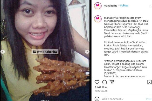 Foto yang diduga Nani Apriliani Nurjaman. (Instagram/@manaberita)