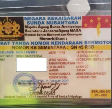 STNK Kekaisaran Sunda Nusantara