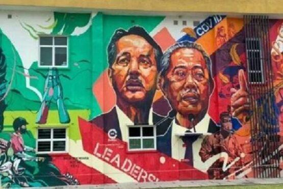 Mural Dirjen Kesehatan KKM, Dr Noor Hisham Abdullah (kiri) di Klinik Kuala Lumpur. (Antara)