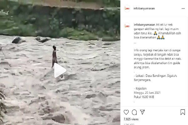 Terlambat Naik, Penjala Ikan di Banjarnegara Ini Terjebak di Tengah Sungai
