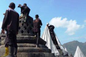 BKB Buka Terpal Setelah 7 Bulan Tutupi Stupa Candi Borobudur