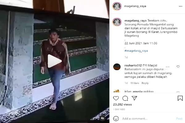 Video Aksi Bobol Kotak Amal Ini Viral di Instagram