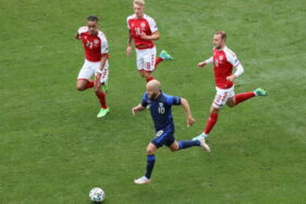 Finlandia mengalahkan Denmark 1-0 dalam laga pembuka Grup B Euro 2020. (Twitter)