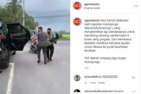Aksi Heroik Kapolres Kulonprogo Bantu Ibu Hamil Pingsan di Jalan, Videonya Viral!