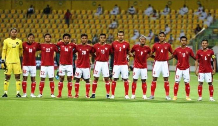 Skua Timnas Indonesia saat menghadapi Uni Emirat Arab (UEA) di Stadion Zabeel, Dubai, Jumat (11/6/2021) malam WIB. (Dok/PSSI).