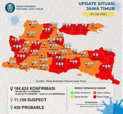Waduh! 20 Daerah di Jawa Timur Kategori Zona Merah Covid-19
