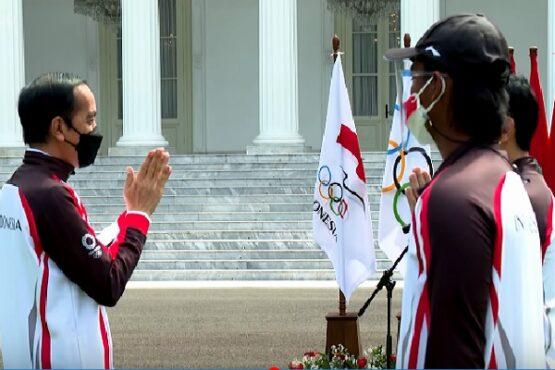 Pelepasan kontingen Indonesia ke Olimpiade Tokyo 2021. (Youtube-Sekretariat Presiden)