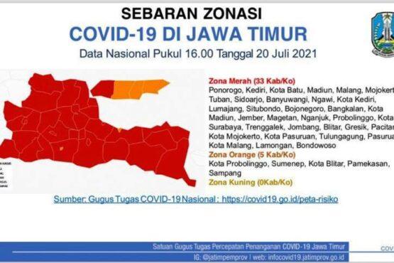 Peta Covid-19 Jawa Timur