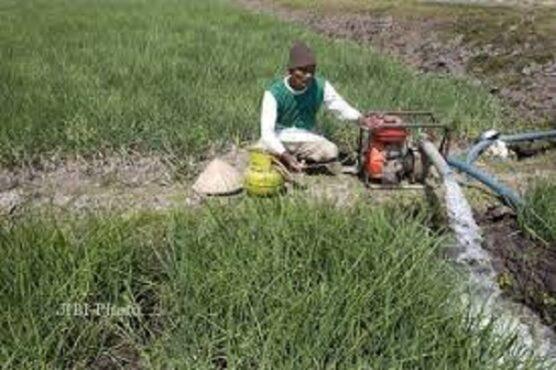 Ilustrasi petani menggunakan mesin pompa air. (dok.Solopos)